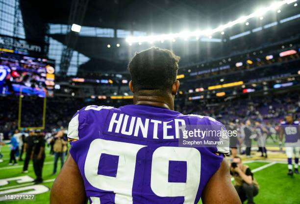 Danielle Hunter of the Minnesota Vikings on the field after the game against the Detroit Lions at US Bank Stadium on December 8 2019 in Minneapolis...