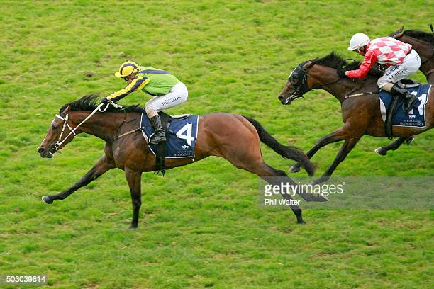 Danielle Johnson riding Sofia Rose wins the Royal Stakes at Ellerslie Racecourse on January 1 2016 in Auckland New Zealand