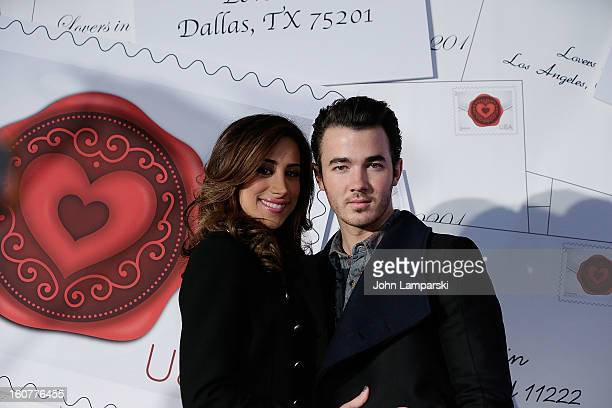 Danielle Jonas and Kevin Jonas attend 2013 Sealed With Love US Postal Stamp Unveiling at Broadway Pedestrian Plaza on February 5 2013 in New York City