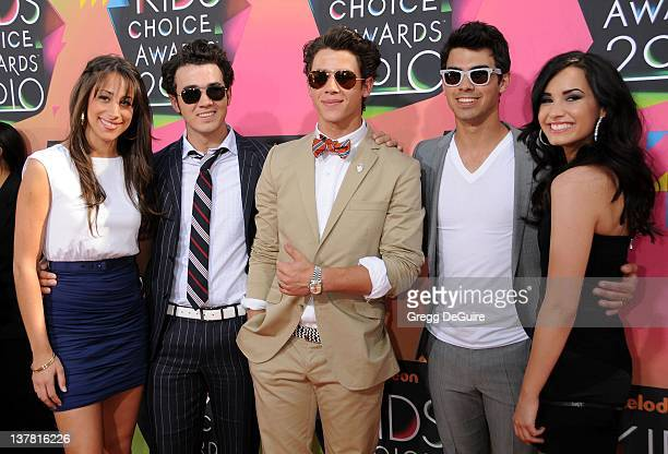 Danielle Jonas Kevin Jonas Joe Jonas Nick Jonas and Demi Lovato attend Nickelodeon's 23rd Annual Kids' Choice Awards held at Pauley Pavilion at UCLA...