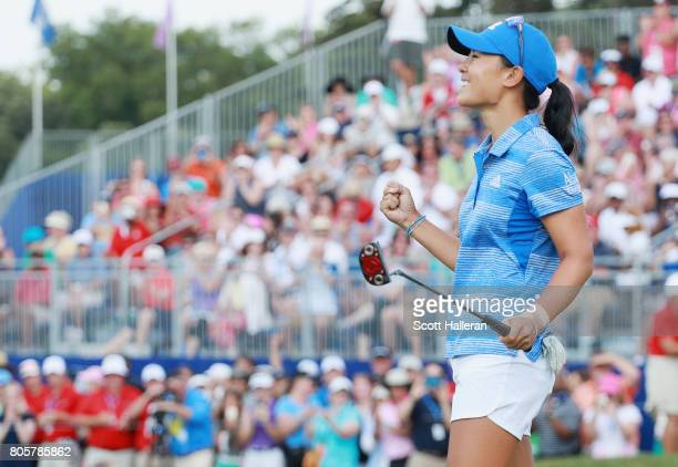 Danielle Kang celebrates her birdie putt on the 18th green to win the 2017 KPMG Women's PGA Championship at Olympia Fields Country Club on July 2...