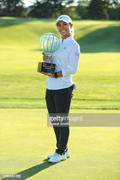 Danielle Kang celebrates with the trophy after winning the LPGA Drive On Championship at Inverness Club on August 2 2020 in Toledo Ohio