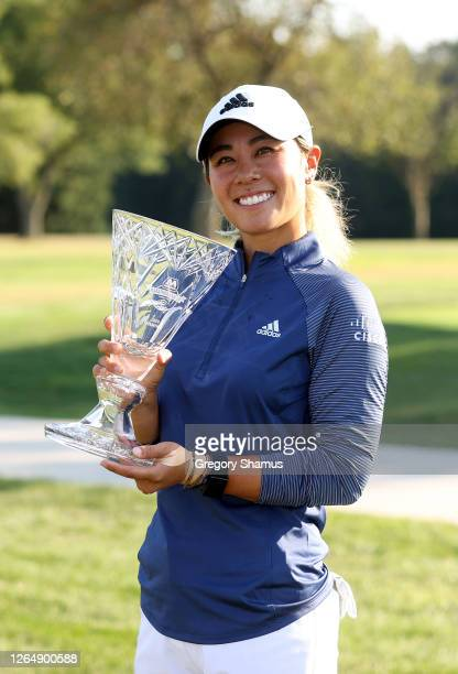 Danielle Kang celebrates with the trophy after winning the Marathon LPGA Classic during the final round at Highland Meadows Golf Club on August 09...