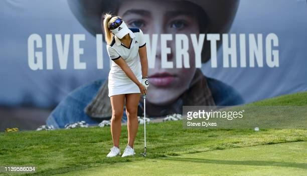Danielle Kang chips onto the 18th green during the final round of the Kia Classic at the Aviara Golf Club on March 31 2019 in Carlsbad California