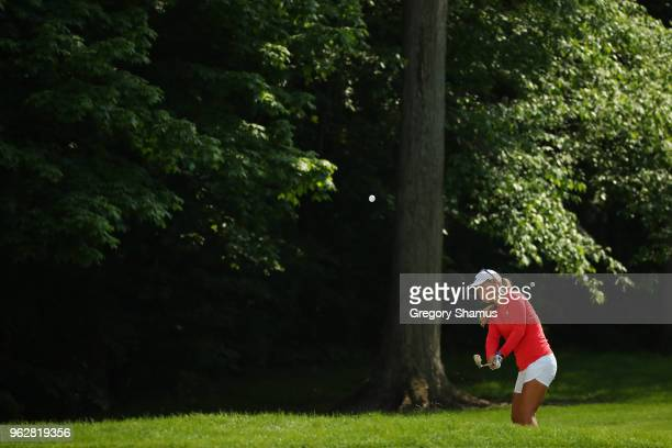 Danielle Kang chips to the sixth green during the third round of the LPGA Volvik Championship on May 26 2018 at Travis Pointe Country Club Ann Arbor...