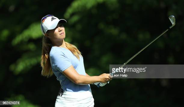 Danielle Kang from the United States watches her tee shot on the 16th hole during round two of the LPGA Volvik Championship at Travis Pointe County...