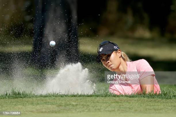 Danielle Kang hits a shot from the sand on the first hole during the third round of the Marathon LPGA Classic at Highland Meadows Golf Club on August...