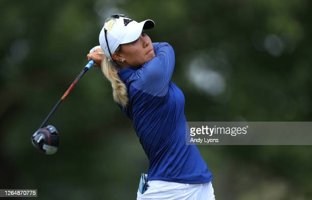 Danielle Kang hits a tee shot on the second hole during the final round of the Marathon LPGA Classic at Highland Meadows Golf Club on August 09 2020...