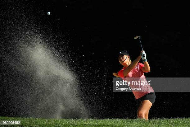 Danielle Kang hits from bunker to the sixth green during the first round of the LPGA Volvik Championship on May 24 2018 at Travis Pointe Country Club...