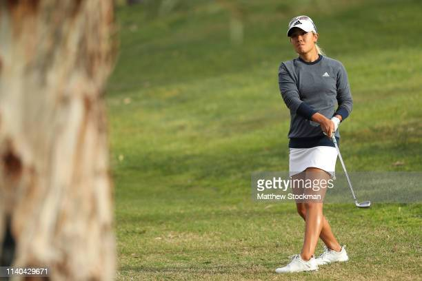 Danielle Kang hits from the rough on the second fairway during round 1 of the ANA Inspiration on the Dinah Shore course at Mission Hills Country Club...