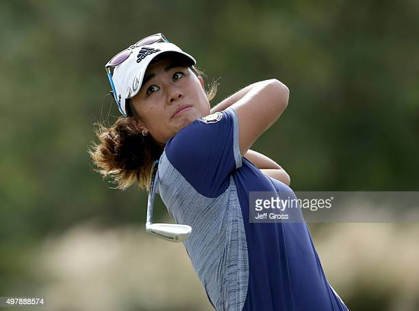 Danielle Kang hits her second shot from the second fairway during the first round of the CME Group Tour Championship at the Tiburon Golf Club on...
