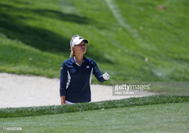 Danielle Kang hits her second shot on the 17th hole during the first round of the ANA Inspiration on the Dinah Shore course at Mission Hills Country...