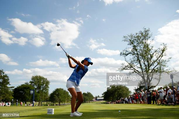Danielle Kang hits her tee shot on the 18th hole during the final round of the 2017 KPMG PGA Championship on July 2 2017 in Olympia Fields Illinois