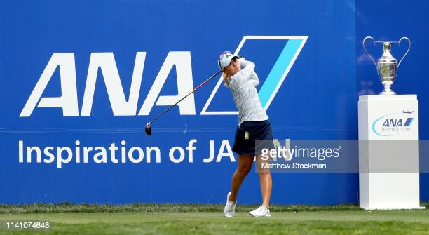 Danielle Kang hits off the first tee during the final round of the ANA Inspiration on the Dinah Shore course at Mission Hills Country Club on April...