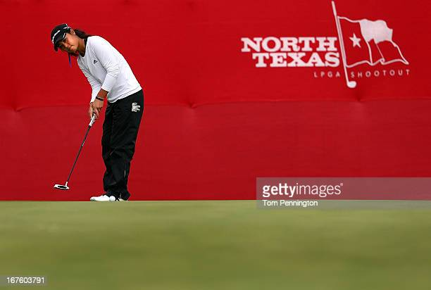 Danielle Kang lines up a putt during the second round of the 2013 North Texas LGPA Shootout at the Las Colinas Country Club on April 26 2013 in...