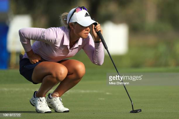 Danielle Kang looks over a putt on the 18th green during the first round of the CME Group Tour Championship at Tiburon Golf Club on November 15 2018...
