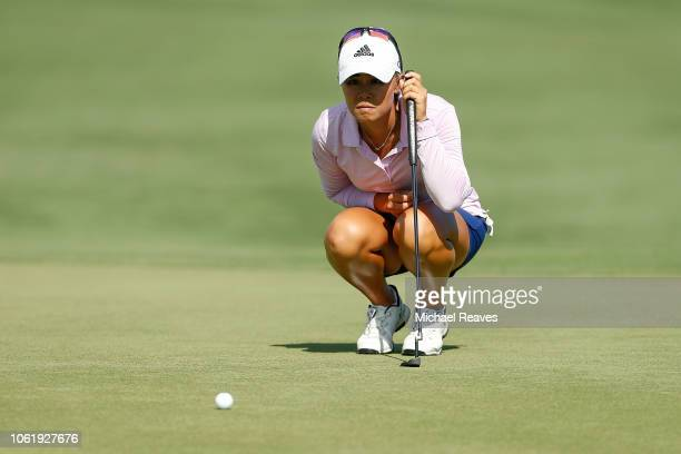 Danielle Kang looks over a putt on the ninth green during the first round of the CME Group Tour Championship at Tiburon Golf Club on November 15 2018...