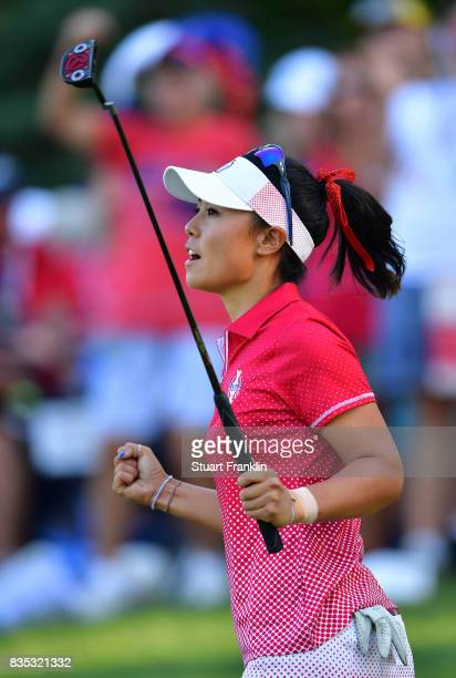 Danielle Kang of Team USA celebrates a putt during the afternoon fourball matches of The Solheim Cup at Des Moines Golf and Country Club on August 18...