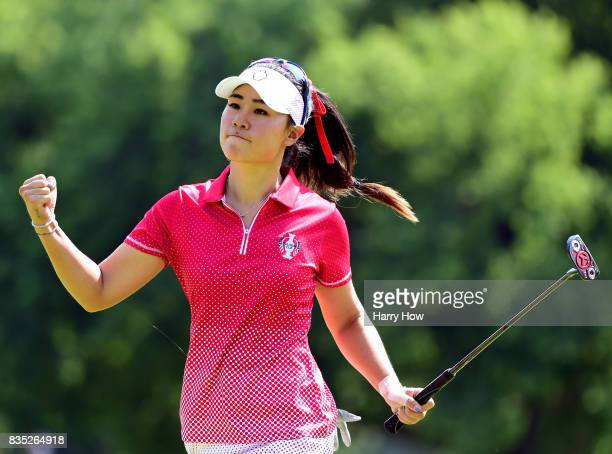 Danielle Kang of Team USA celebrates her birdie on the seventh green during the afternoon fourball matches of the Solheim Cup at the Des Moines Golf...