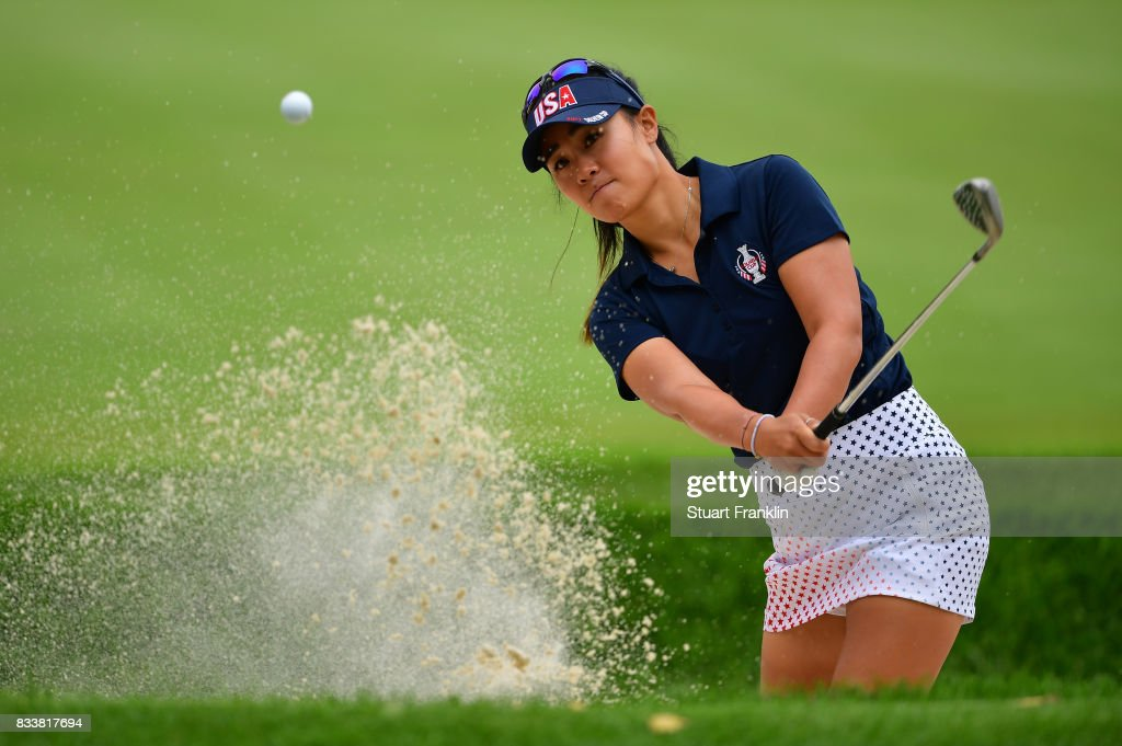 Danielle Kang of Team USA plays a bunker shot during practice prior to The Solheim Cup at Des Moines Golf and Country Club on August 17, 2017 in West Des Moines, Iowa.