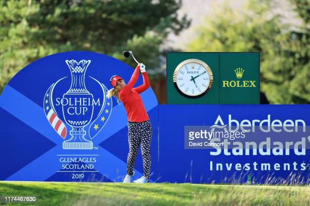 Danielle Kang of Team USA plays her shot from the fifteenth tee during Day 1 of The Solheim Cup at Gleneagles on September 13, 2019 in Auchterarder,...