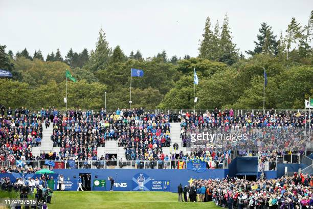 Danielle Kang of Team USA plays her shot from the first tee in her match against Carlota Ciganda of Team Europe during the final day singles matches...