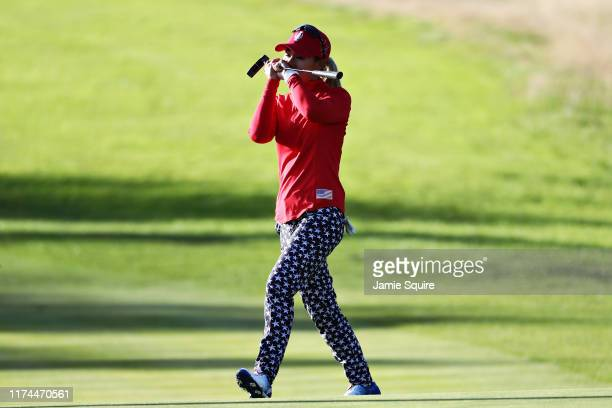 Danielle Kang of Team USA reacts after missing a putt on the fifteenth hole during Day 1 of The Solheim Cup at Gleneagles on September 13 2019 in...