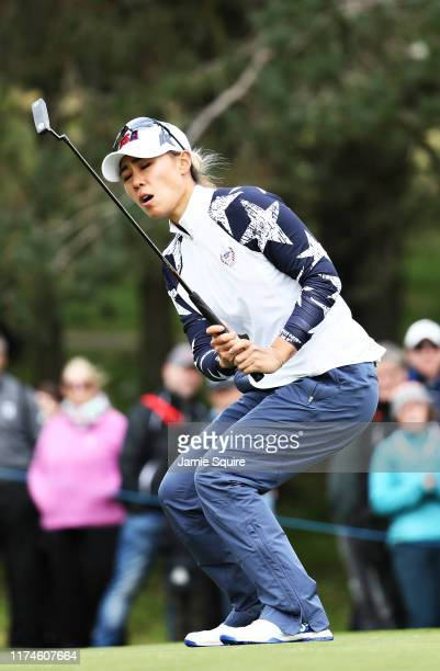 Danielle Kang of Team USA reacts to a missed putt on the thirteenth green during Day 2 of the Solheim Cup at Gleneagles on September 14 2019 in...