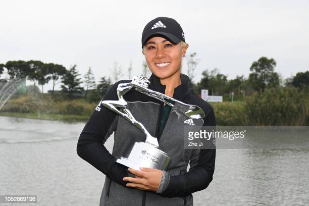 Danielle Kang of the United States celebrates after winning the Buick LPGA Shanghai 2018 at Shanghai Qizhong Garden Golf Club on October 21 2018 in...