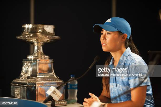 Danielle Kang of the United States during a Press Conference for the 2017 KPMG Women's PGA Championship held at Olympia Fields Country Club on July...