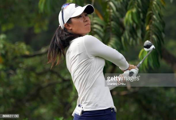 Danielle Kang of the United States in action during day one of the Sime Darby LPGA Malaysia at TPC Kuala Lumpur East Course on October 26 2017 in...