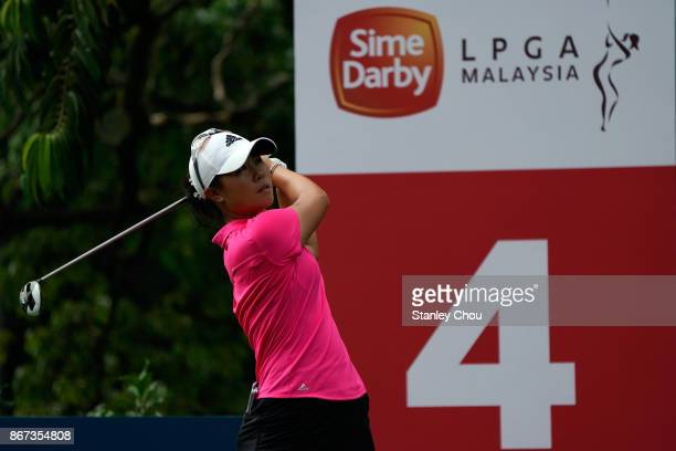 Danielle Kang of the United States in action during day three of the Sime Darby LPGA Malaysia at TPC Kuala Lumpur East Course on October 28 2017 in...