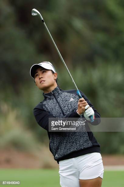 Danielle Kang of the United States plays a shot on the second hole during round one of the CME Group Tour Championship at the Tiburon Golf Club on...