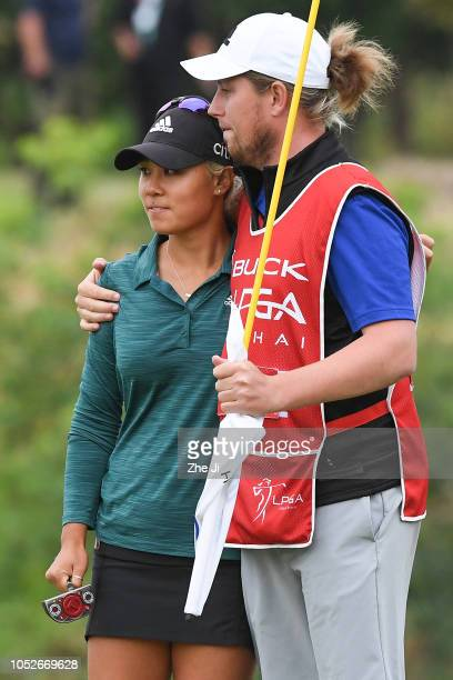 Danielle Kang of the United States plays a shot the final round of the Buick LPGA Shanghai 2018 at Shanghai Qizhong Garden Golf Club on October 21...
