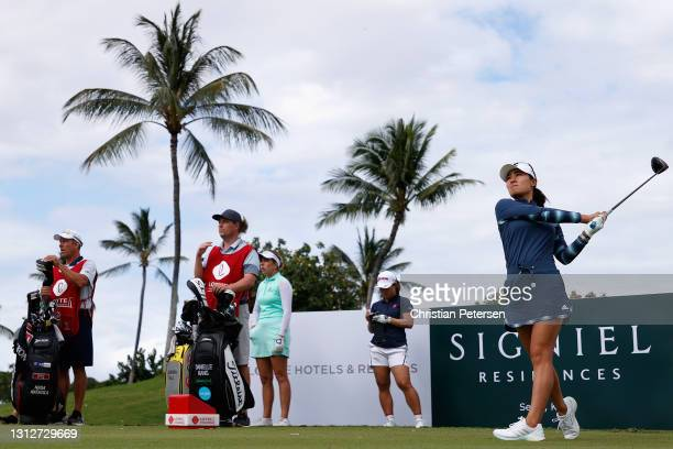 Danielle Kang of the United States plays a tee shot on the third hole during the second round of the LPGA LOTTE Championship at Kapolei Golf Club on...