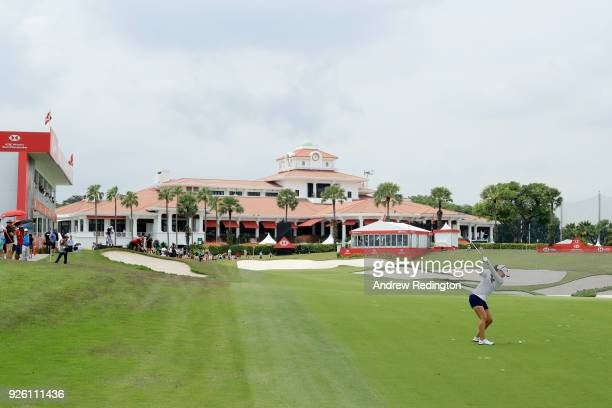 Danielle Kang of the United States plays her second shot on the 18th hole during round two of the HSBC Women's World Championship at Sentosa Golf...