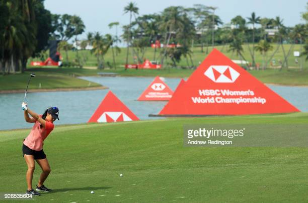 Danielle Kang of the United States plays her second shot on the fifth hole during round three of the HSBC Women's World Championship at Sentosa Golf...
