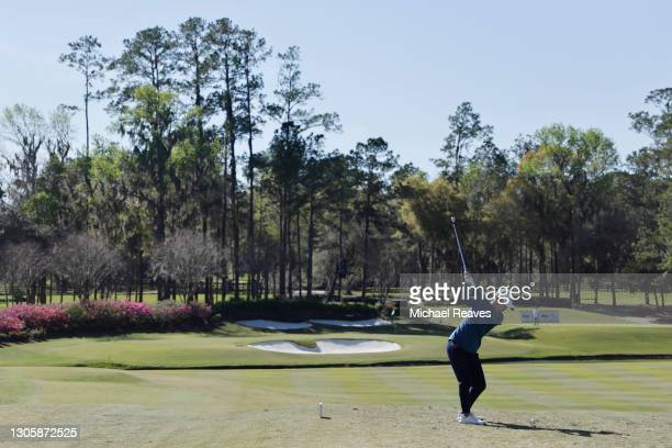 Danielle Kang of the United States plays her shot from the 11th tee during the final round of the LPGA Drive On Championship at Golden Ocala Golf...