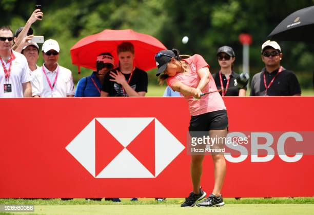 Danielle Kang of the United States plays her shot from the 14th tee during round three of the HSBC Women's World Championship at Sentosa Golf Club on...