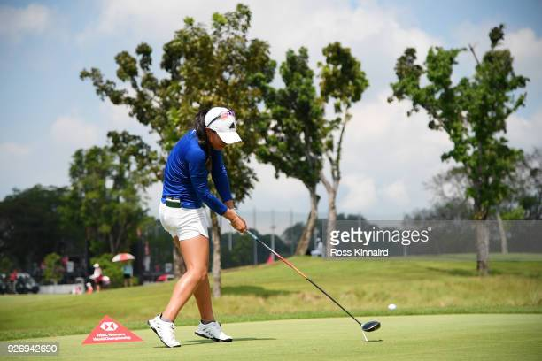 Danielle Kang of the United States plays her shot from the eighth tee during the final round of the HSBC Women's World Championship at Sentosa Golf...