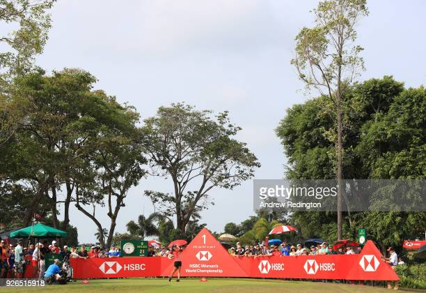 Danielle Kang of the United States plays her shot from the first tee during round three of the HSBC Women's World Championship at Sentosa Golf Club...