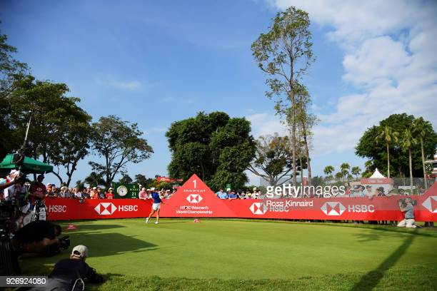 Danielle Kang of the United States plays her shot from the first tee during the final round of the HSBC Women's World Championship at Sentosa Golf...