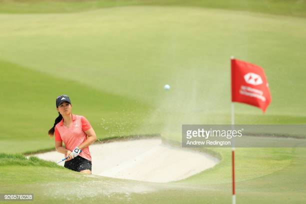 Danielle Kang of the United States plays her third shot on the 18th hole during round three of the HSBC Women's World Championship at Sentosa Golf...