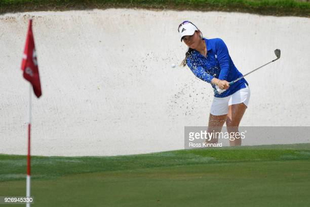 Danielle Kang of the United States plays her third shot on the eighth hole during the final round of the HSBC Women's World Championship at Sentosa...