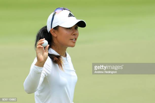 Danielle Kang of the United States reacts to her birdie on the 18th green during round two of the HSBC Women's World Championship at Sentosa Golf...