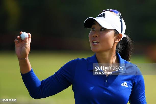 Danielle Kang of the United States reacts to her birdie on the second green during the final round of the HSBC Women's World Championship at Sentosa...