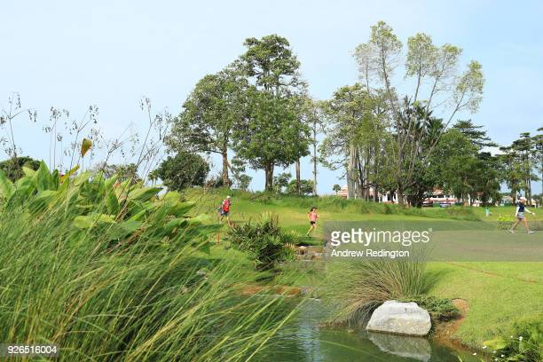 Danielle Kang of the United States walks on the first hole during round three of the HSBC Women's World Championship at Sentosa Golf Club on March 3...