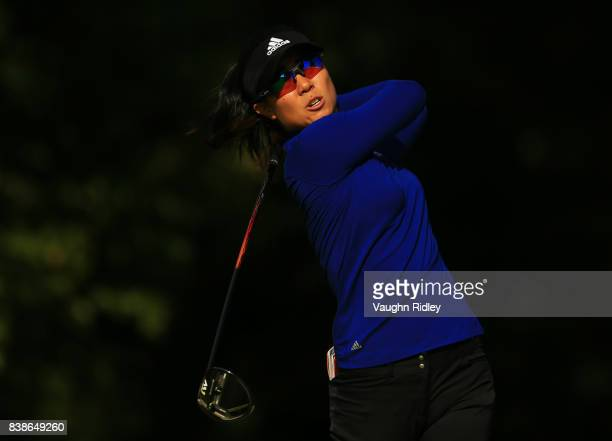 Danielle Kang of the United States watches her shot on the 4th hole during round one of the Canadian Pacific Women's Open at the Ottawa Hunt Golf...