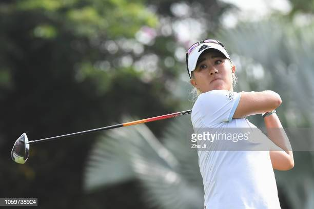 Danielle Kang of United States plays a shot on the 1st hole during the final round of the Blue Bay LPGA on November 10 2018 in Hainan Island China
