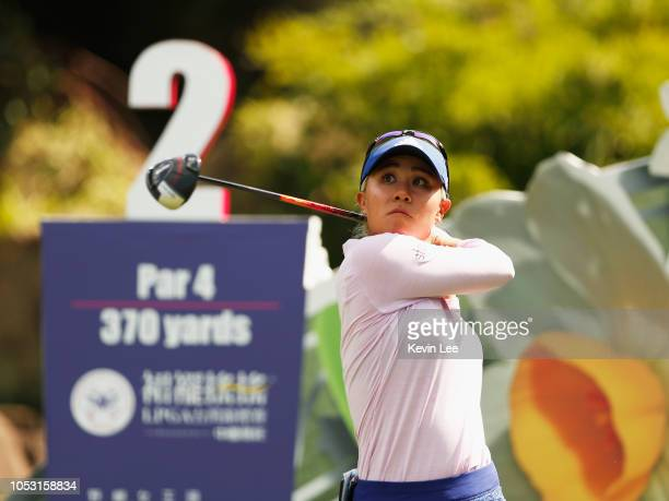 Danielle Kang of United States plays her tee shot in the second hole during the first round of the Swinging Skirts LPGA Taiwan Championships at Ta...